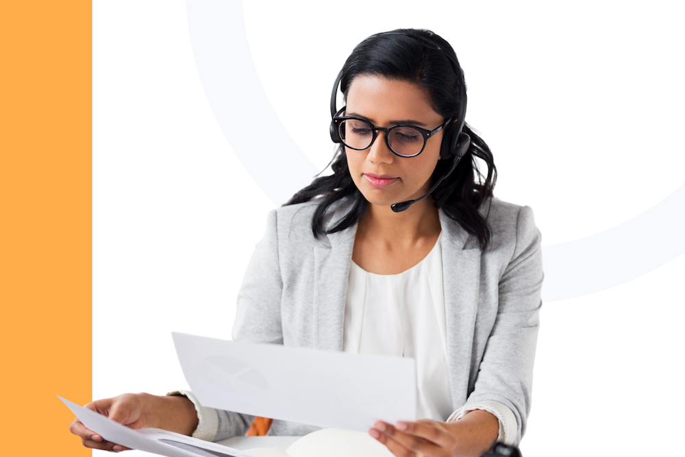 Woman on headset managing remote team